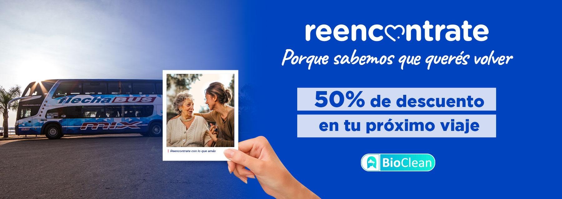 beneficio reencontrate viajar micro descuento 50% argentina flecha Bus H