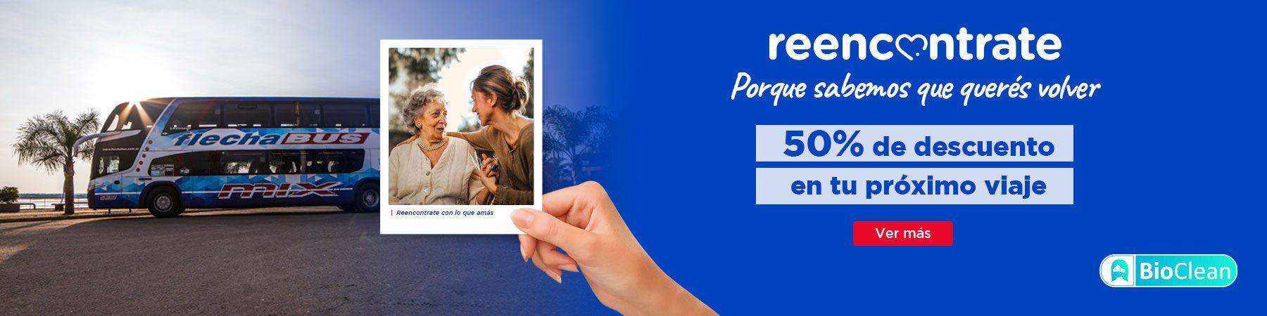 beneficio reencontrate viajar micro descuento 50% argentina flecha Bus V